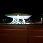 Distant view of LED illuminated Petrol Station
